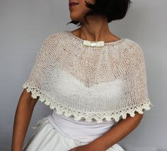Cream Winter Bridal Cape, Ecru Mohair Wedding Bolero Shrug, Knit Cozy Winter Shoulder Cover Lace Trimmed Capelet