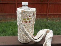 Crochet Water bottle carrie holder in ecru by needlepointnmore,