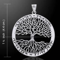 Wiccan Pagan Celtic Tree of Life - Solstice Tree - World Tree Pendant. Handcrafted in fine Sterling Silver with Theban lettering. Designed by Artist Mickie Pagan Jewelry, Jewelry Tree, Gothic Jewelry, Stone Jewelry, Silver Spoon Jewelry, Sterling Silver Pendants, 925 Silver, Yin Yang, Wiccan Symbols