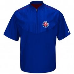Chicago Cubs Majestic MLB Cool Base On-Field Short Sleeve Training Jacket (Royal)