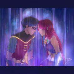 Robin Starfire, Teen Titans Starfire, Nightwing And Starfire, Teen Titans Fanart, Comic Book Characters, Comic Books Art, Robin The Boy Wonder, Raven Beast Boy, Original Teen Titans