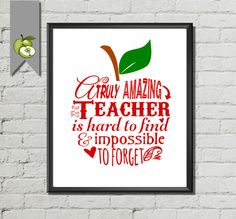 Printable Typography instant download of a Teachers apple. Its ideal for any child/student to give to her or his teacher at the end of term/leaving