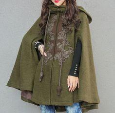 New fashion Women Cloak Cape Jakcet Winter Coat Goth Punk Warm Wool Hooded Winter Wedding Cape, Everyday Steampunk, Cloak, Fashion Outfits, Womens Fashion, Winter Coat, Wool Blend, High Neck Dress, Chromatic Aberration