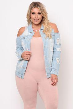 Plus Size Distressed Cold Shoulder Jean Jacket - Light Wash