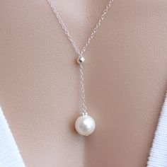 PEARL Necklace -Simple Delicate-Sterling Silver Chain - Single Pearl Necklace, Wedding Necklace, Bridesmaid Necklace, Bridal Necklace- Gift