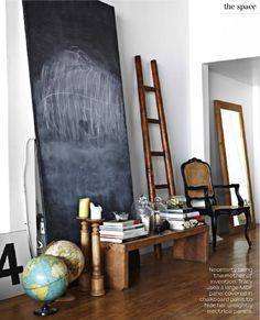 I need a big old wall-propped chalkboard. And a ladder. And a globe. And a big old 4.