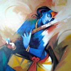 Divine Melody by Cashi Sutar – Aartique Krishna Drawing, Krishna Painting, Krishna Art, Radhe Krishna, Baby Krishna, Shree Krishna, Pichwai Paintings, Indian Art Paintings, Modern Art Paintings