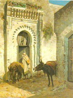 Tanger by A.GIRARDET  peinture- Scène de rue à Tanger