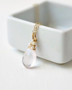 Rose Quartz and Freshwater Pearl Pendant Necklace in gold fill.  Choose your chain length.  Artisan made pink gemstone briolette necklace by Blue Room Gems.
