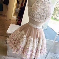 Exquisite Two Piece Jewel Sleeveless Short Blush Homecoming Dress with Appliques