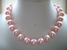 Large Raspberry Pink Vintage Pearl Necklace by DesignsbyPattiLynn, $45.00
