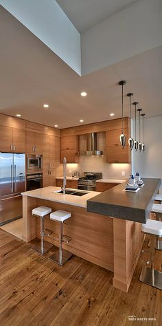 Attrayant If You Want A Contemporary Kitchen But Love Timber, This Space Combines  Both Beau2026