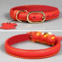 Golden Buckle Pure Cowhide Leather Pet Dog Collar