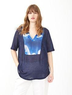 T-shirt in lino con inserto stampato