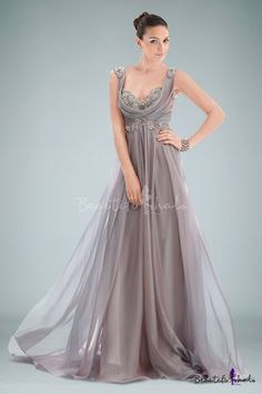 Grecian Chiffon Empire Evening Dress Accented with Beaded Applique and Cowl Neckline
