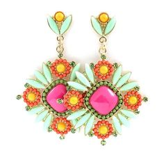 Magnolia Statement Earrings in Mint Crush on Emma Stine Limited