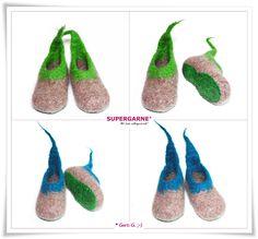 Schuhe - Filzschuhe,Filzpuschen,Filzhausschuhe für Kinder - ein Designerstück von HaekelFee-Gerti_G bei DaWanda