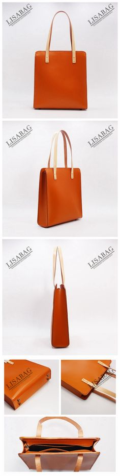Handmade Vegetable Tanned Leather Tote Bag Women's Fashion Handbag Shopper Bag in Brown QX02--LISABAG