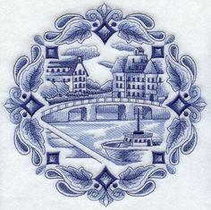 DELFT BLUE CANAL SCENE- Machine Embroidered Quilt Blocks (AzEB)