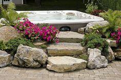 "Landscaped Hot Tub surround with moss rock steps <a href=""http://www.longislandhottub.com"" rel=""nofollow"" target=""_blank"">www.longislandhot...</a>"