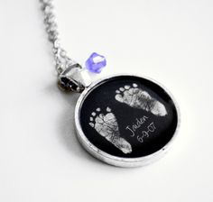 Mother's Necklace Your Baby's ACTUAL Footprints by Metamorphosis07, $25.00 OMFG I want this for the boys!!