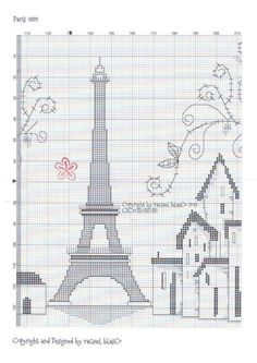 Paris 2 of 3 Cross Stitch House, Cross Stitch Charts, Cross Stitch Designs, Cross Stitch Patterns, Blackwork Embroidery, Cross Stitch Embroidery, Hand Embroidery Designs, Embroidery Patterns, Filet Crochet