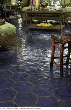 FLOOR TREATMENTS: Cobalt blue hexagon tile--but outside