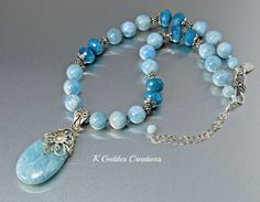 Aquamarine Gemstone Pendant Necklace Blue by KGeddesCreations, $259.00