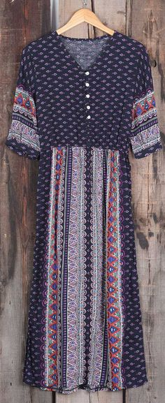 Look, Only $19.99 ! Free shipping & Easy Return+Refund! This bohemian maxi dress is so cute with its ornamental button&half sleeve. Cozy with Cupshe.com !