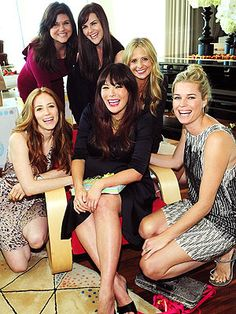 Lindsay Price celebrates her baby shower in the Coco Wrap Dress from Rosie Pope Maternity
