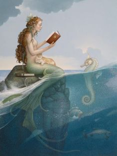 """The Mermaid's Secret Michael Parkes Original Oil on Canvas 21"""" x 27"""""""