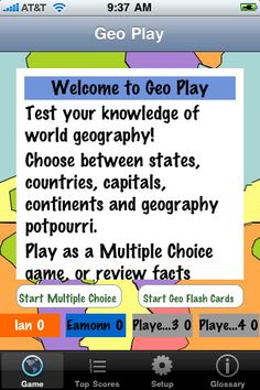 Geography app to help learn states, countries, capitals and continents!