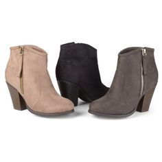 Womens Journee Collection Womens Faux Suede Ankle Boots ($37) ❤ liked on Polyvore featuring shoes, boots, ankle booties, black, gray boots, short grey boots, grey bootie, zipper ankle boots and gray bootie