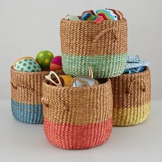 Abaca rope and rattan floor basket features a band of bright color to make your storage 50% livelier. Its sturdy construction makes it perfect for any room in the house<br /><br /><NEWTAG/><h2>Details, details</h2><ul><li> Nod exclusive</li><li> Dip Dye effect rope floor baskets are available in four colors</li><li> Features two handles for easy transport</li><li> Can safely transport up to 10 pounds</li><li> Hand woven item, exact dimensions may vary</li></ul><h2>Show 'em what you're made…