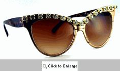 Fantasia Rhinestone Sunglasses - 272 Gold Vintage Sunglasses, Gold Sunglasses, Cat Eye Sunglasses, Eyes, Fantasy, Cat Eyes
