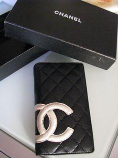Chanel Black Cambon White Cc Leather Pink Lining Logo Bi-fold Long Wallet Purse