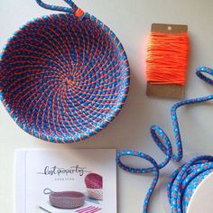 Coil rope bowl tutorial and materials. Woven rope basket making kit and instructions DIY