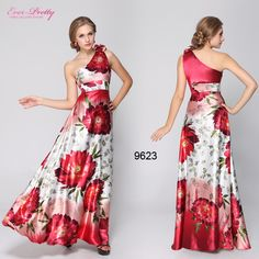 HE09623RD Free Shipping One Shoulder Reds Floral Printed Flower Satin Evening Dress $37.49