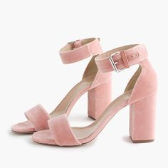 """Need a lift? These strappy sandals have a just-right height—so yes, you can wear them to work <i>and</i> to drinks after. We made this edition in velvet with a hint of sheen, because this year we intend to make """"party season"""" last through the fall and well into February. <ul><li>3 3/8"""" heel.</li><li>Cotton upper.</li><li>Leather lining and sole.</li><li>Made in Italy.</li></ul>"""