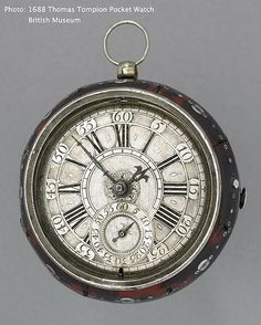 1688 Tompion pocket watch on display at the British Museum.