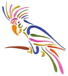 Stylized Parrot (Square Hoop) embroidery design