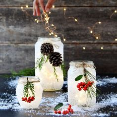 Crafts With Mason Jars Magical 5 minute DIY snow frosted mason jar decorations: FREE beautiful Thanksgiving & Christmas decor, gifts, winter wedding centerpieces, & great crafts! - A Piece of Rainbow Winter Wedding Centerpieces, Mason Jar Centerpieces, Christmas Centerpieces, Christmas Decorations, Thanksgiving Decorations, Diy Thanksgiving, Mason Jar Thanksgiving Centerpieces, Homemade Christmas Table Decorations, Quinceanera Centerpieces