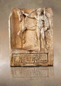 Roman releif sculpture of Bellerophon, Aphrodisias, Turkey. Bellerophon was a Lykian hero who was claimed to be the founder of Aphrodisias. He holds the winged horse Pegasos. The quality of the carving is poor indicating an apprentice piece.
