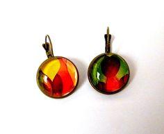 """Boucles d'oreilles """"Couleur Nature"""" métal bronze et verre : Boucles d'oreille par francesca"""