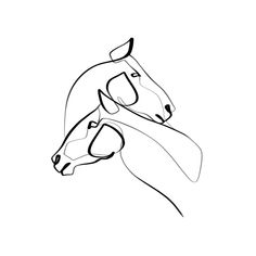 Calligraphy-Inspired One Line Artist & Illustrator Lion Tattoo, Dog Tattoos, Animal Tattoos, Sleeve Tattoos, Tatoos, Horse Drawings, Cute Drawings, Line Drawing, Painting & Drawing
