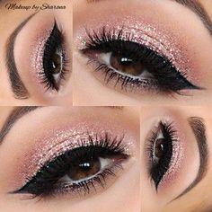 Pretty, fun makeup pink glitter eye shadow thick black liner-http://www.pinterest.com/MakeupBySharona/makeup-by-sharona/