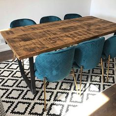 John Lewis Calia Style Industrial Reclaimed Dining Table V-Frame Steel Base (Handmade UK) Reclaimed Dining Table, Dinning Room Tables, Console Table, Reclaimed Timber, Wooden Tops, Colorful Chairs, Extendable Dining Table, Rustic Industrial, Plank