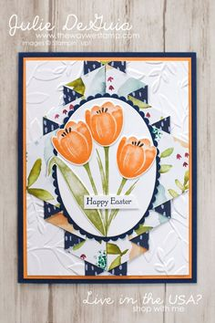 Double Pleated Fancy Fold with Naturally Eclectic DSP and Tranquil Tulips by Stampin' Up!   Easter Card Ideas   handmade cards   rubber stamps   Julie DeGuia   The Way We Stamp