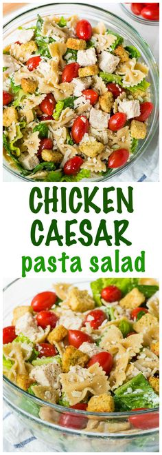 Bowtie Chicken Caesar Pasta Salad — EASY recipe that's a great side dish or hearty enough for an all-in-one meal. Whole wheat pasta, crisp veggies, and the best creamy homemade Caesar dressing. Recipe at wellplated.com @wellplated