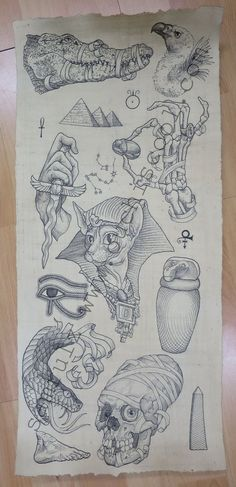 Egyptian themed tattoo flash sheet by Ouchiscool on Etsy